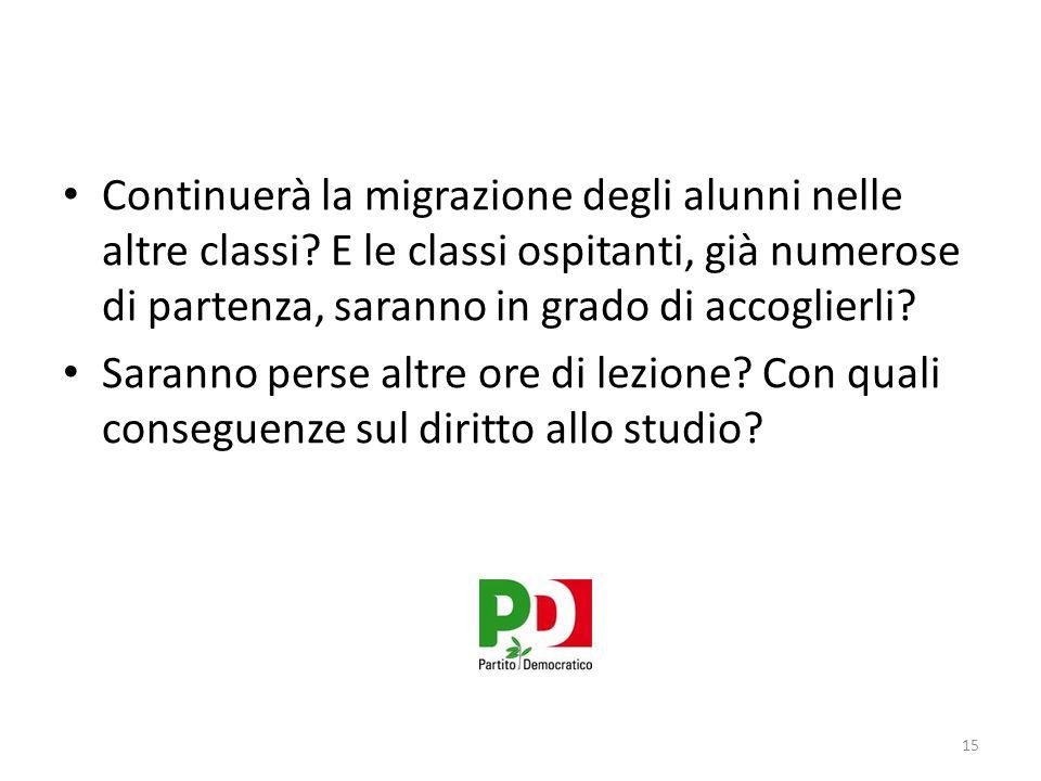Continuerà la migrazione degli alunni nelle altre classi.