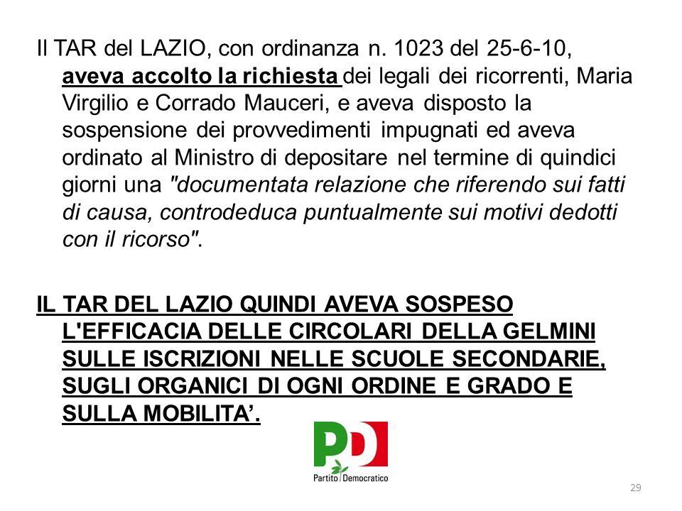 Il TAR del LAZIO, con ordinanza n.