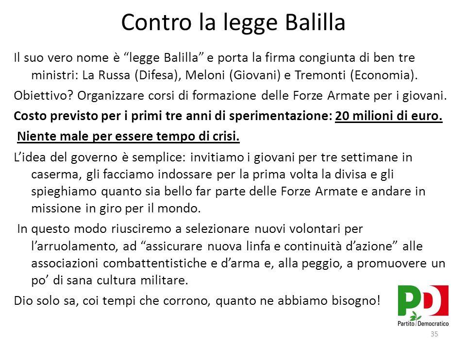 Contro la legge Balilla Il suo vero nome è legge Balilla e porta la firma congiunta di ben tre ministri: La Russa (Difesa), Meloni (Giovani) e Tremonti (Economia).