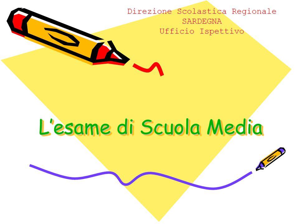 Lesame di Scuola Media Direzione Scolastica Regionale SARDEGNA Ufficio Ispettivo