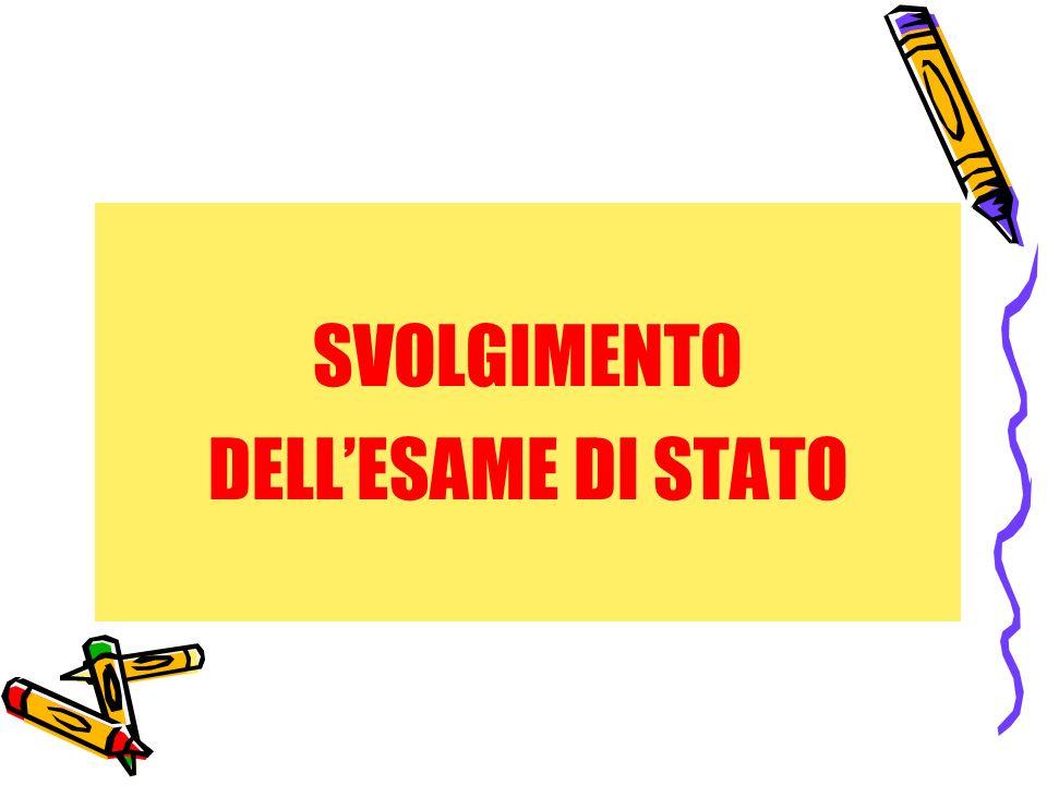 SVOLGIMENTO DELLESAME DI STATO