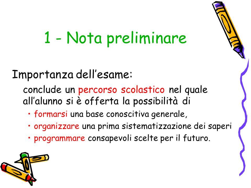 1 - Nota preliminare Importanza dellesame: conclude un percorso scolastico nel quale allalunno si è offerta la possibilità di formarsi una base conosc