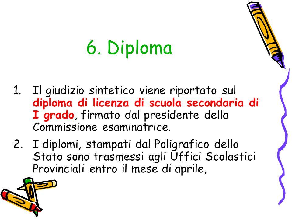 6. Diploma 1.Il giudizio sintetico viene riportato sul diploma di licenza di scuola secondaria di I grado, firmato dal presidente della Commissione es