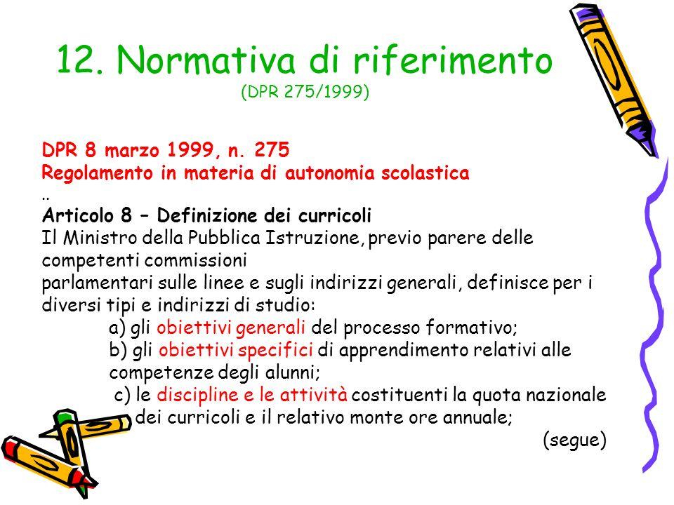 12. Normativa di riferimento (DPR 275/1999) DPR 8 marzo 1999, n. 275 Regolamento in materia di autonomia scolastica.. Articolo 8 – Definizione dei cur