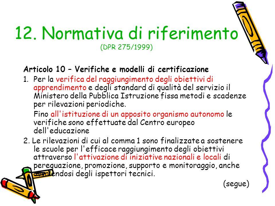 12. Normativa di riferimento (DPR 275/1999) Articolo 10 – Verifiche e modelli di certificazione 1.Per la verifica del raggiungimento degli obiettivi d
