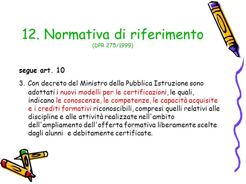 12. Normativa di riferimento (DPR 275/1999) segue art. 10 3. Con decreto del Ministro della Pubblica Istruzione sono adottati i nuovi modelli per le c
