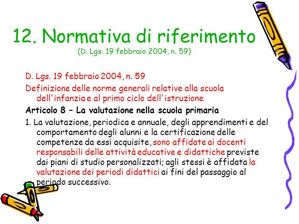 12. Normativa di riferimento (D. Lgs. 19 febbraio 2004, n. 59) D. Lgs. 19 febbraio 2004, n. 59 Definizione delle norme generali relative alla scuola d