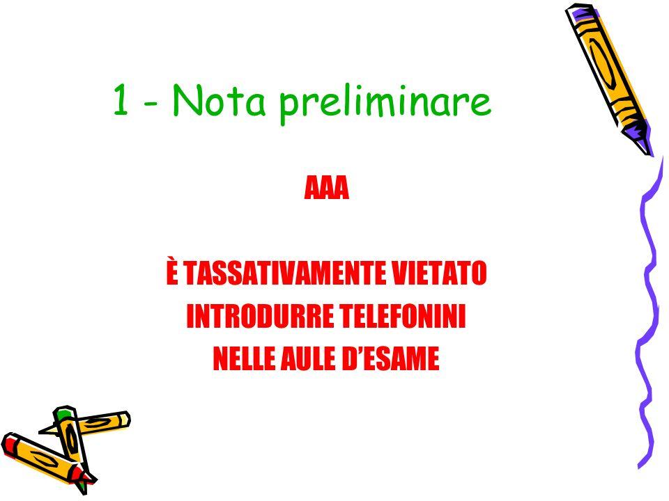 1 - Nota preliminare AAA È TASSATIVAMENTE VIETATO INTRODURRE TELEFONINI NELLE AULE DESAME