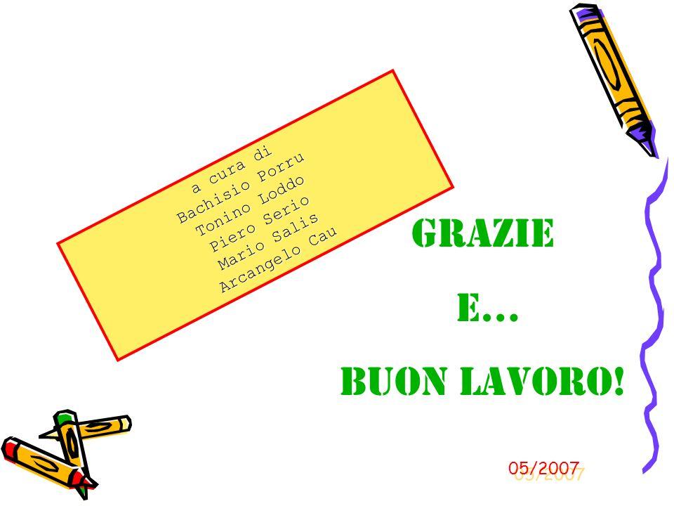 a cura di Bachisio Porru Tonino Loddo Piero Serio Mario Salis Arcangelo Cau Grazie e… Buon Lavoro! 05/2007