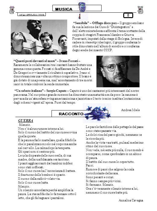 MUSICA UCALIPTO-GIU.2009 8 Sensibile – Offlaga disco pax – Il gruppo emiliano fa sua la lezione dei Cure di Disintegration e dellelettronica tedesca e
