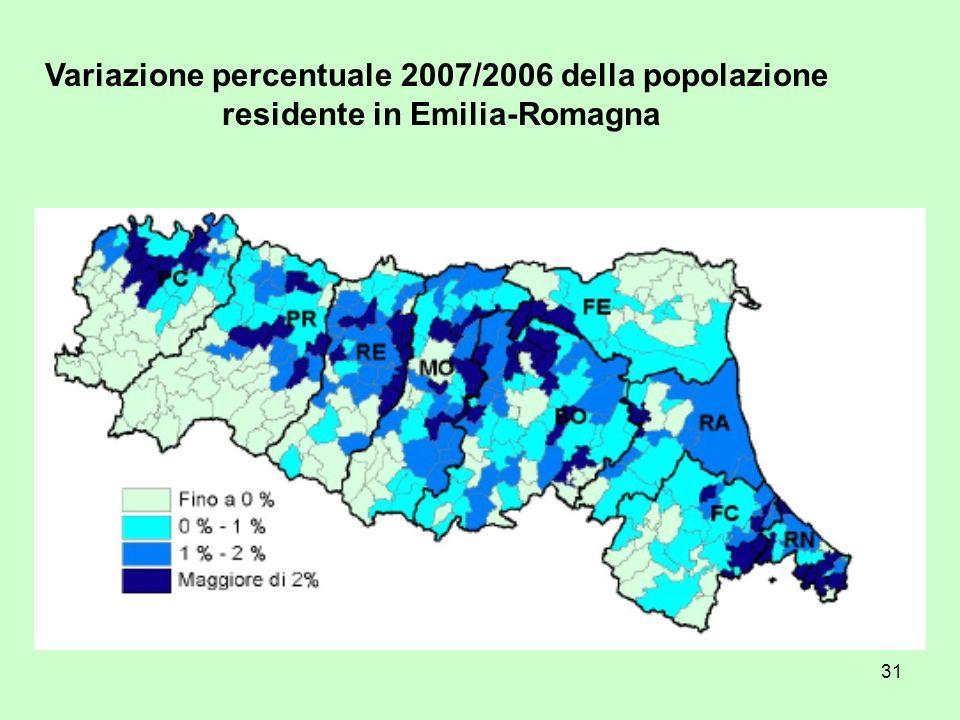 31 Variazione percentuale 2007/2006 della popolazione residente in Emilia-Romagna