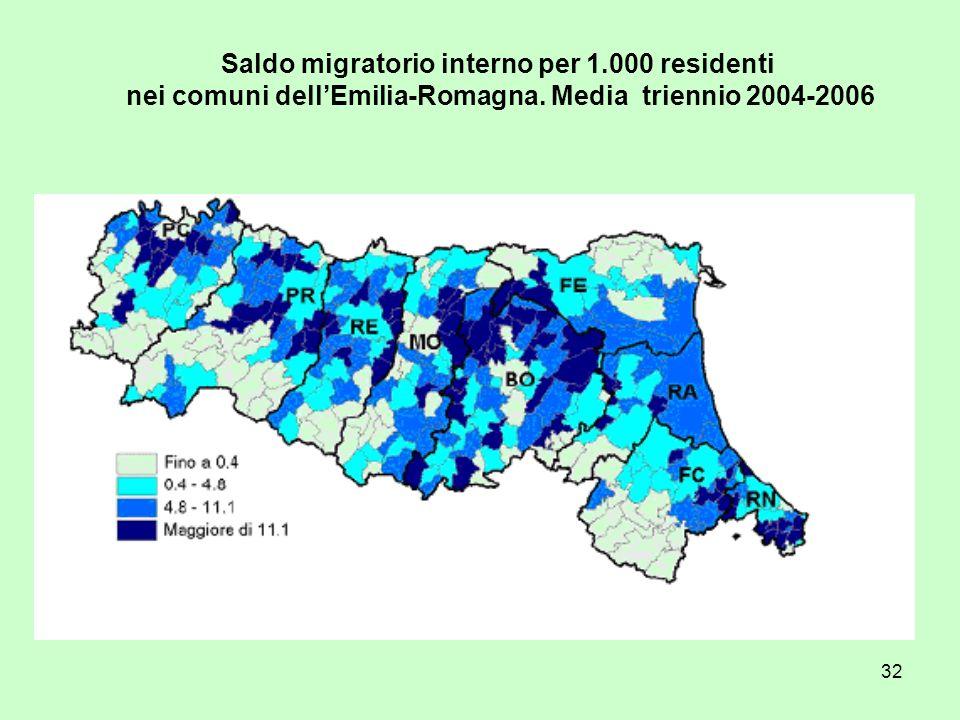 32 Saldo migratorio interno per 1.000 residenti nei comuni dellEmilia-Romagna. Media triennio 2004-2006