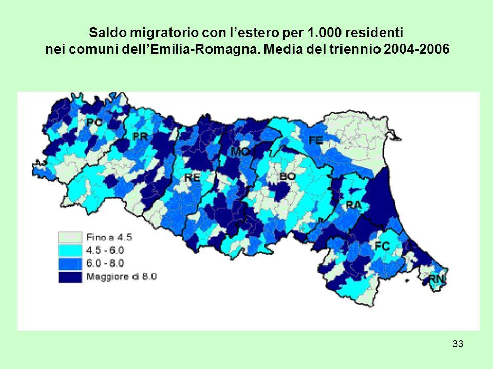 33 Saldo migratorio con lestero per 1.000 residenti nei comuni dellEmilia-Romagna. Media del triennio 2004-2006