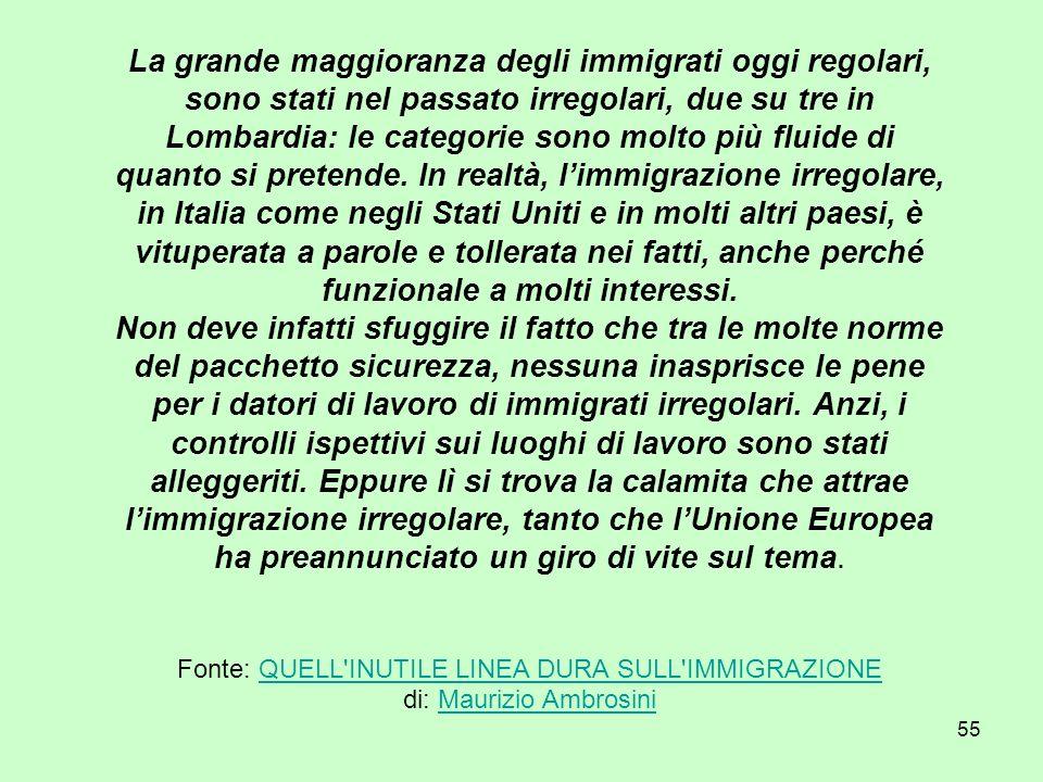 55 La grande maggioranza degli immigrati oggi regolari, sono stati nel passato irregolari, due su tre in Lombardia: le categorie sono molto più fluide