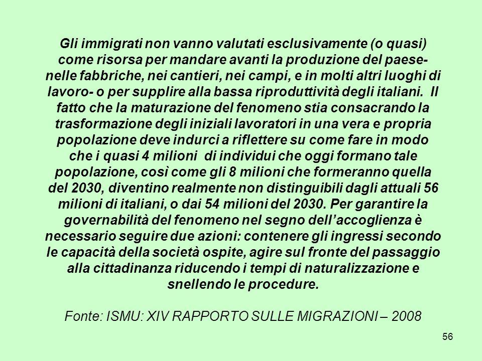 56 Gli immigrati non vanno valutati esclusivamente (o quasi) come risorsa per mandare avanti la produzione del paese- nelle fabbriche, nei cantieri, nei campi, e in molti altri luoghi di lavoro- o per supplire alla bassa riproduttività degli italiani.
