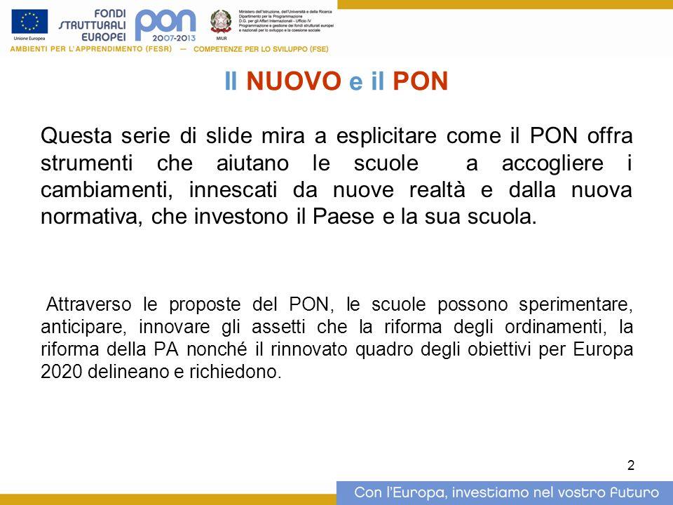 2 Il NUOVO e il PON Questa serie di slide mira a esplicitare come il PON offra strumenti che aiutano le scuole a accogliere i cambiamenti, innescati da nuove realtà e dalla nuova normativa, che investono il Paese e la sua scuola.