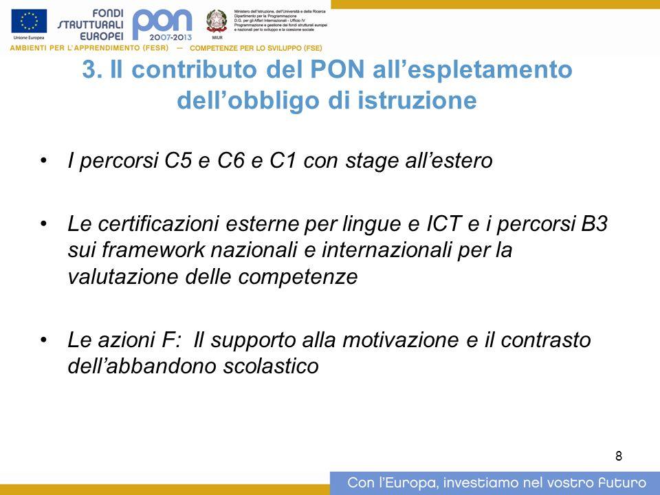 8 3. Il contributo del PON allespletamento dellobbligo di istruzione I percorsi C5 e C6 e C1 con stage allestero Le certificazioni esterne per lingue