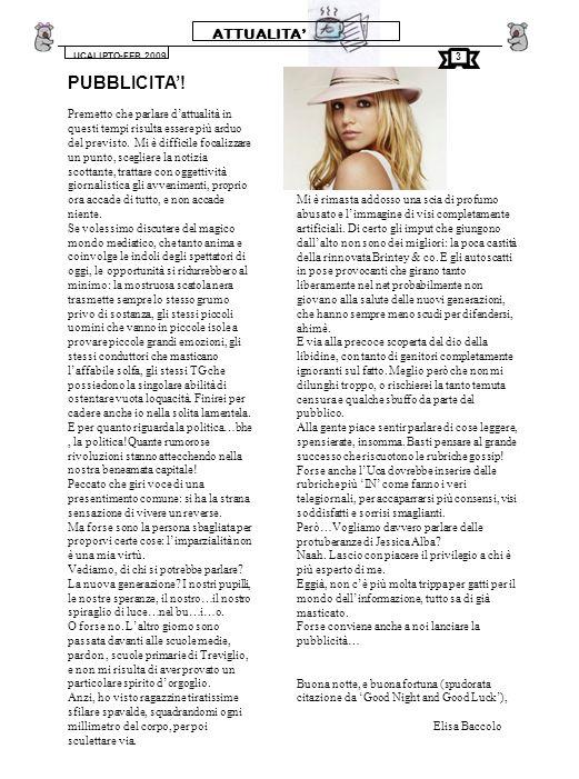 GIOCHI UCALIPTO-FEB.2009 12 ORIZZONTALI : 1.il nome del nostro giornalino; 9.