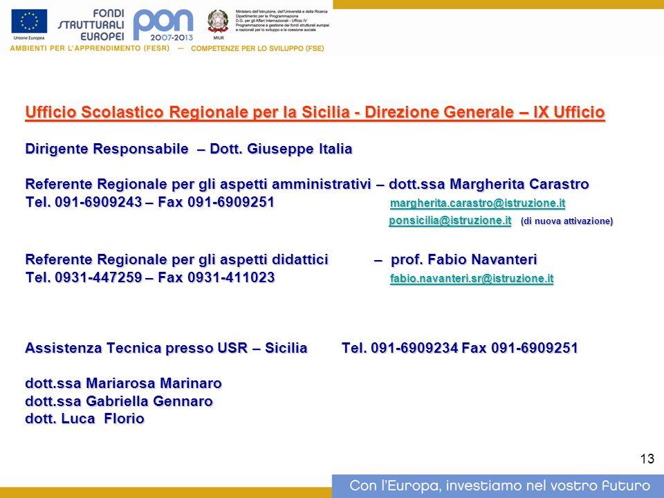 13 Ufficio Scolastico Regionale per la Sicilia - Direzione Generale – IX Ufficio Dirigente Responsabile – Dott.