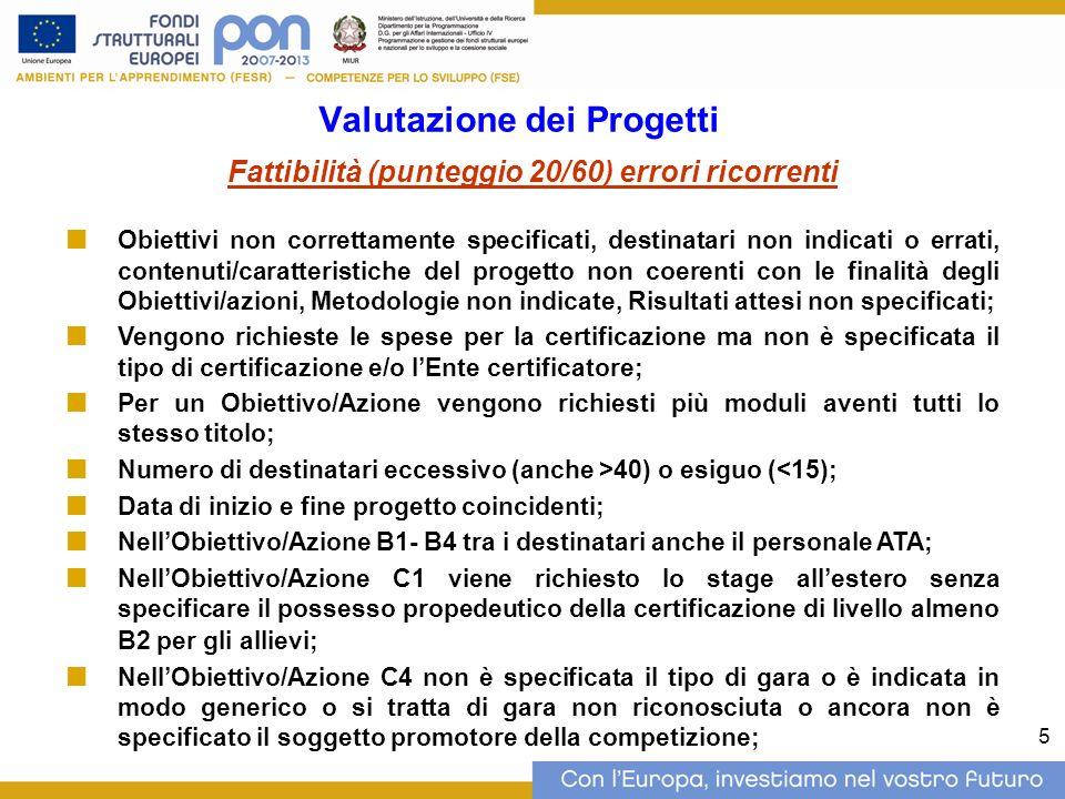 5 Valutazione dei Progetti Fattibilità (punteggio 20/60) errori ricorrenti Obiettivi non correttamente specificati, destinatari non indicati o errati, contenuti/caratteristiche del progetto non coerenti con le finalità degli Obiettivi/azioni, Metodologie non indicate, Risultati attesi non specificati; Vengono richieste le spese per la certificazione ma non è specificata il tipo di certificazione e/o lEnte certificatore; Per un Obiettivo/Azione vengono richiesti più moduli aventi tutti lo stesso titolo; Numero di destinatari eccessivo (anche >40) o esiguo (<15); Data di inizio e fine progetto coincidenti; NellObiettivo/Azione B1- B4 tra i destinatari anche il personale ATA; NellObiettivo/Azione C1 viene richiesto lo stage allestero senza specificare il possesso propedeutico della certificazione di livello almeno B2 per gli allievi; NellObiettivo/Azione C4 non è specificata il tipo di gara o è indicata in modo generico o si tratta di gara non riconosciuta o ancora non è specificato il soggetto promotore della competizione;
