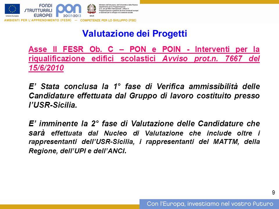 9 Valutazione dei Progetti Asse II FESR Ob.