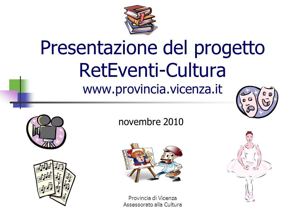 Provincia di Vicenza Assessorato alla Cultura Presentazione del progetto RetEventi-Cultura www.provincia.vicenza.it novembre 2010