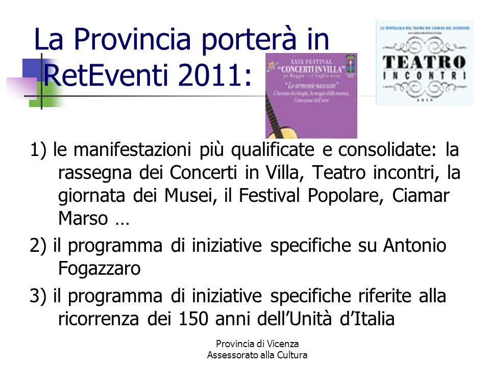 Provincia di Vicenza Assessorato alla Cultura La Provincia porterà in RetEventi 2011: 1) le manifestazioni più qualificate e consolidate: la rassegna