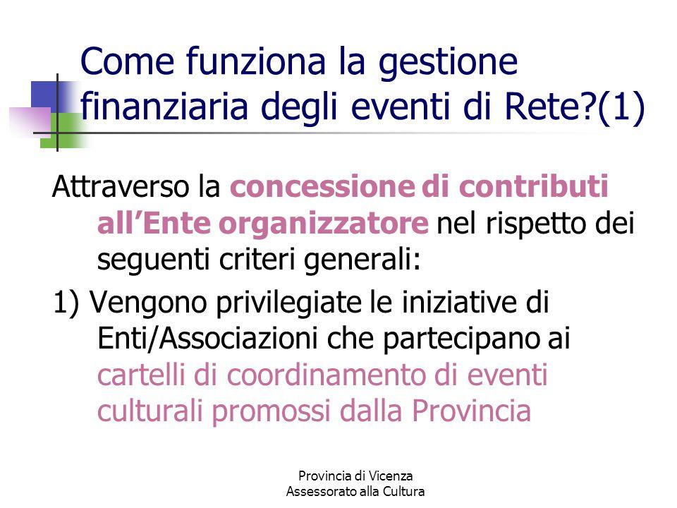 Provincia di Vicenza Assessorato alla Cultura Come funziona la gestione finanziaria degli eventi di Rete?(1) Attraverso la concessione di contributi a