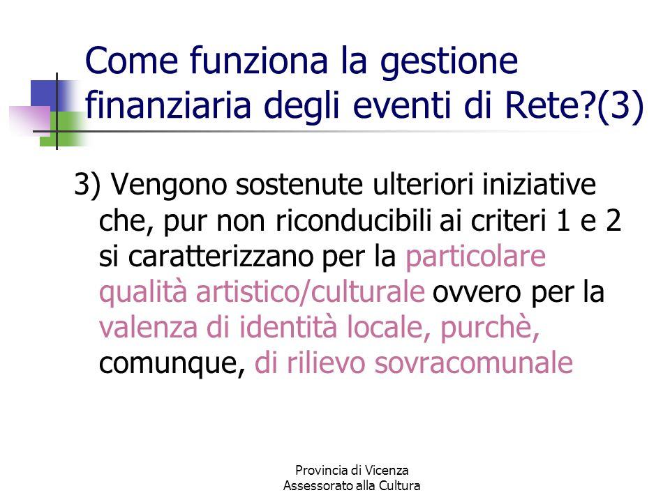 Provincia di Vicenza Assessorato alla Cultura Come funziona la gestione finanziaria degli eventi di Rete?(3) 3) Vengono sostenute ulteriori iniziative