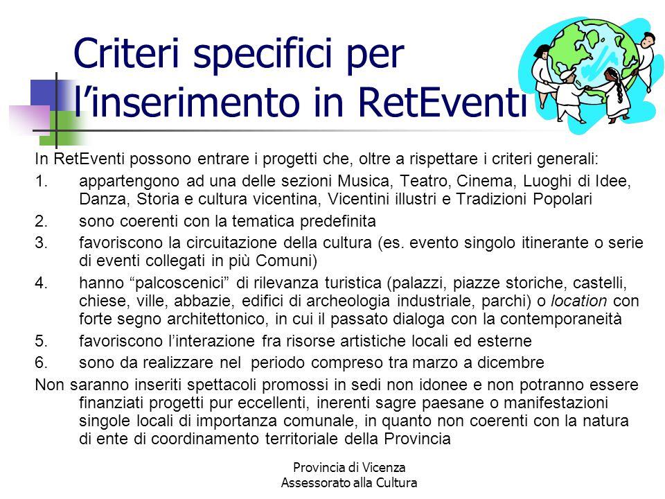 Provincia di Vicenza Assessorato alla Cultura Criteri specifici per linserimento in RetEventi In RetEventi possono entrare i progetti che, oltre a ris