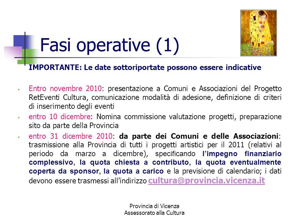 Provincia di Vicenza Assessorato alla Cultura Fasi operative (1) IMPORTANTE: Le date sottoriportate possono essere indicative Entro novembre 2010: pre