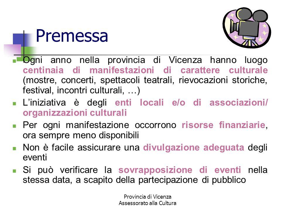 Provincia di Vicenza Assessorato alla Cultura Premessa Ogni anno nella provincia di Vicenza hanno luogo centinaia di manifestazioni di carattere cultu