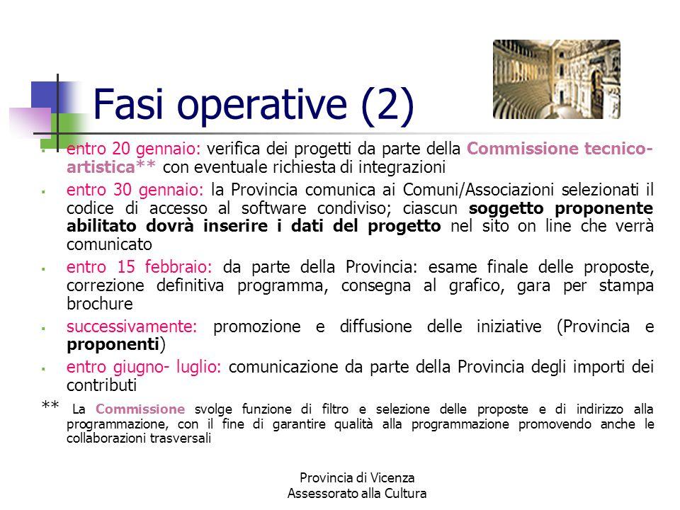 Provincia di Vicenza Assessorato alla Cultura Fasi operative (2) entro 20 gennaio: verifica dei progetti da parte della Commissione tecnico- artistica