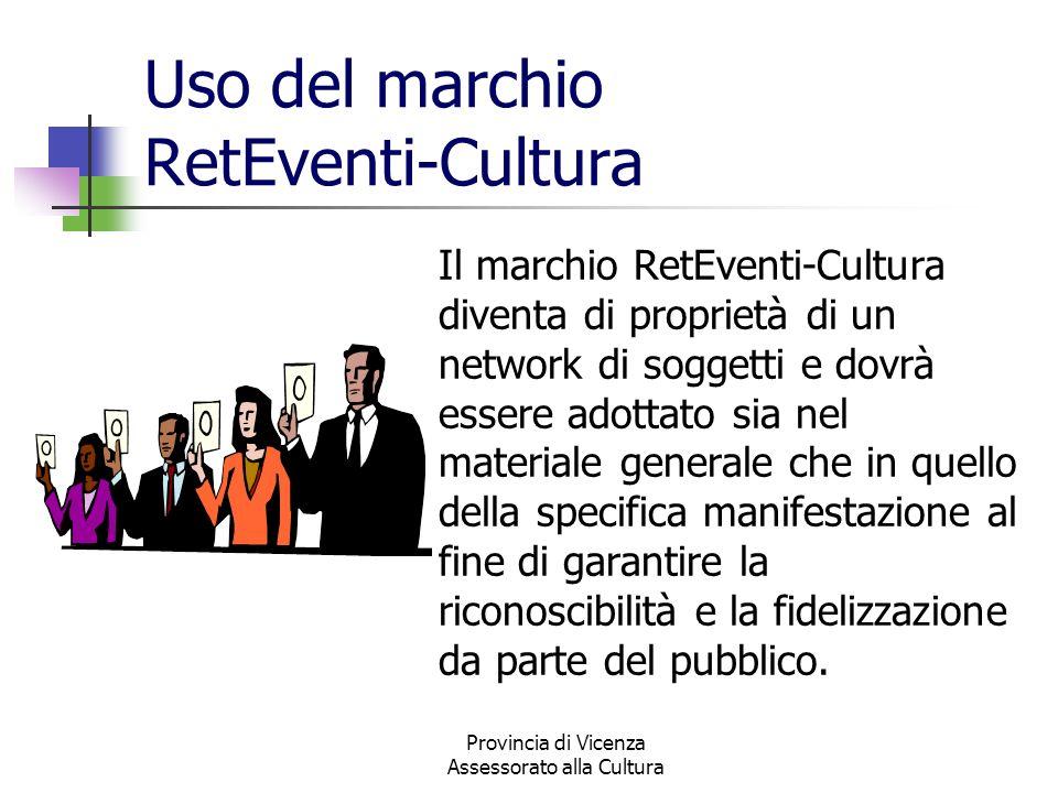 Provincia di Vicenza Assessorato alla Cultura Uso del marchio RetEventi-Cultura Il marchio RetEventi-Cultura diventa di proprietà di un network di sog