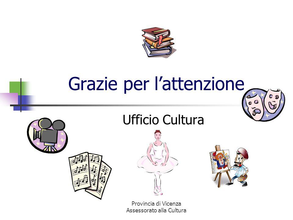 Provincia di Vicenza Assessorato alla Cultura Grazie per lattenzione Ufficio Cultura