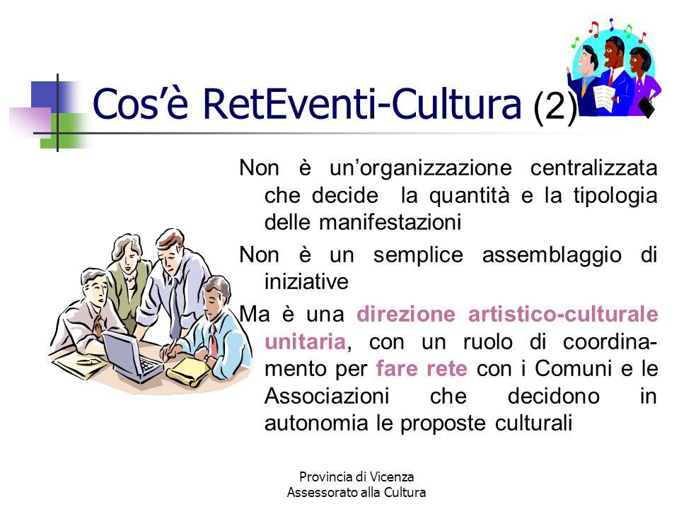 Provincia di Vicenza Assessorato alla Cultura Cosè RetEventi-Cultura (2) Non è unorganizzazione centralizzata che decide la quantità e la tipologia de