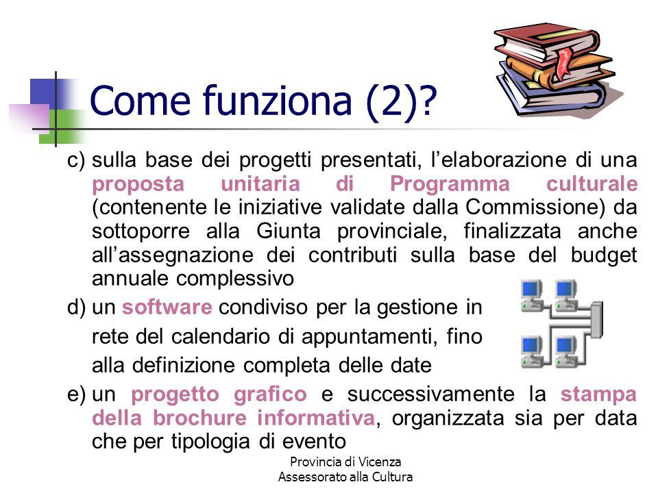 Provincia di Vicenza Assessorato alla Cultura Come funziona (2)? c)sulla base dei progetti presentati, lelaborazione di una proposta unitaria di Progr