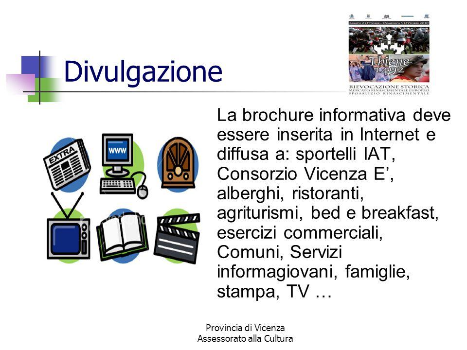 Provincia di Vicenza Assessorato alla Cultura Divulgazione La brochure informativa deve essere inserita in Internet e diffusa a: sportelli IAT, Consor
