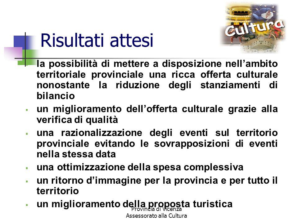 Provincia di Vicenza Assessorato alla Cultura Risultati attesi la possibilità di mettere a disposizione nellambito territoriale provinciale una ricca