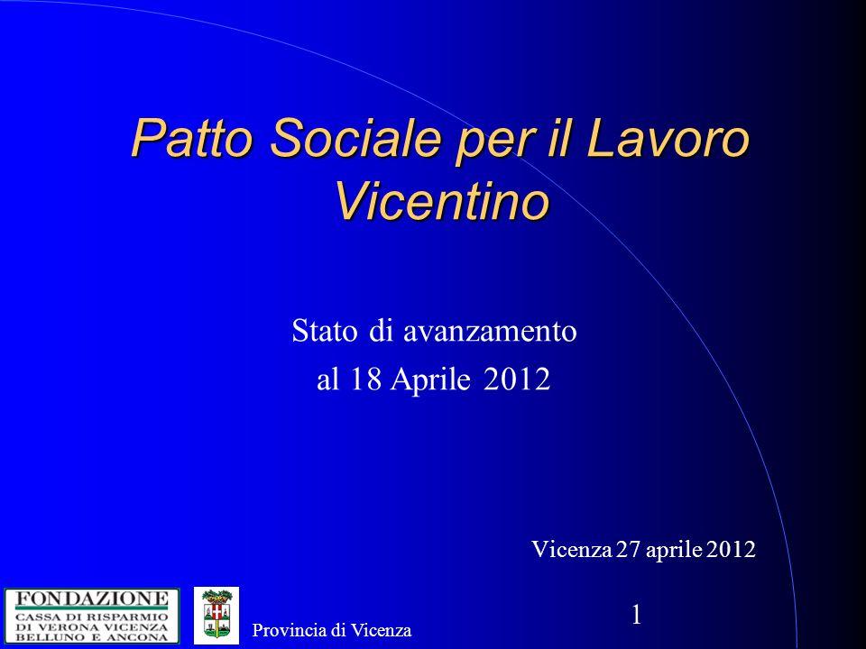 1 Patto Sociale per il Lavoro Vicentino Vicenza 27 aprile 2012 Stato di avanzamento al 18 Aprile 2012 Provincia di Vicenza