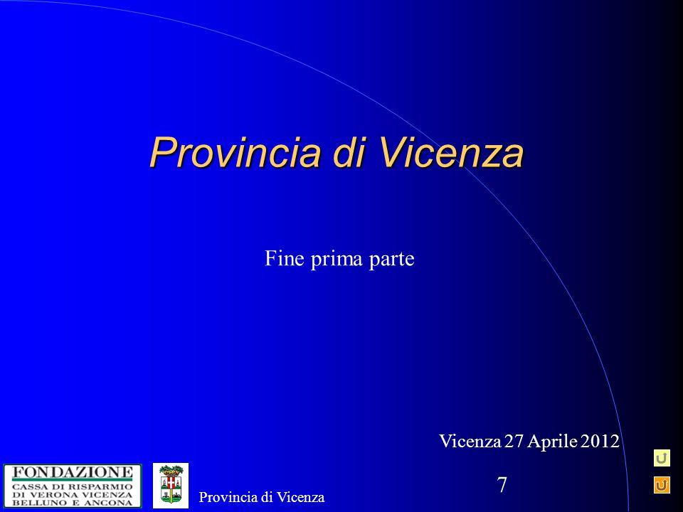 7 Provincia di Vicenza Fine prima parte Vicenza 27 Aprile 2012 Provincia di Vicenza