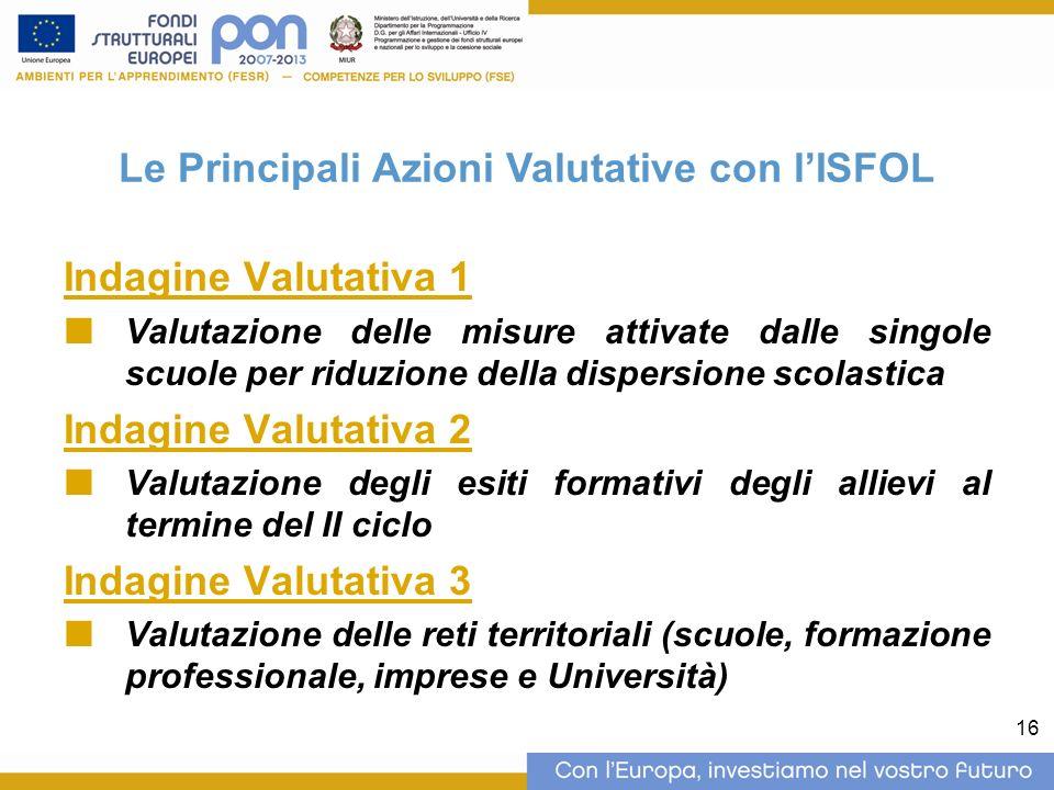 16 Indagine Valutativa 1 Valutazione delle misure attivate dalle singole scuole per riduzione della dispersione scolastica Indagine Valutativa 2 Valut