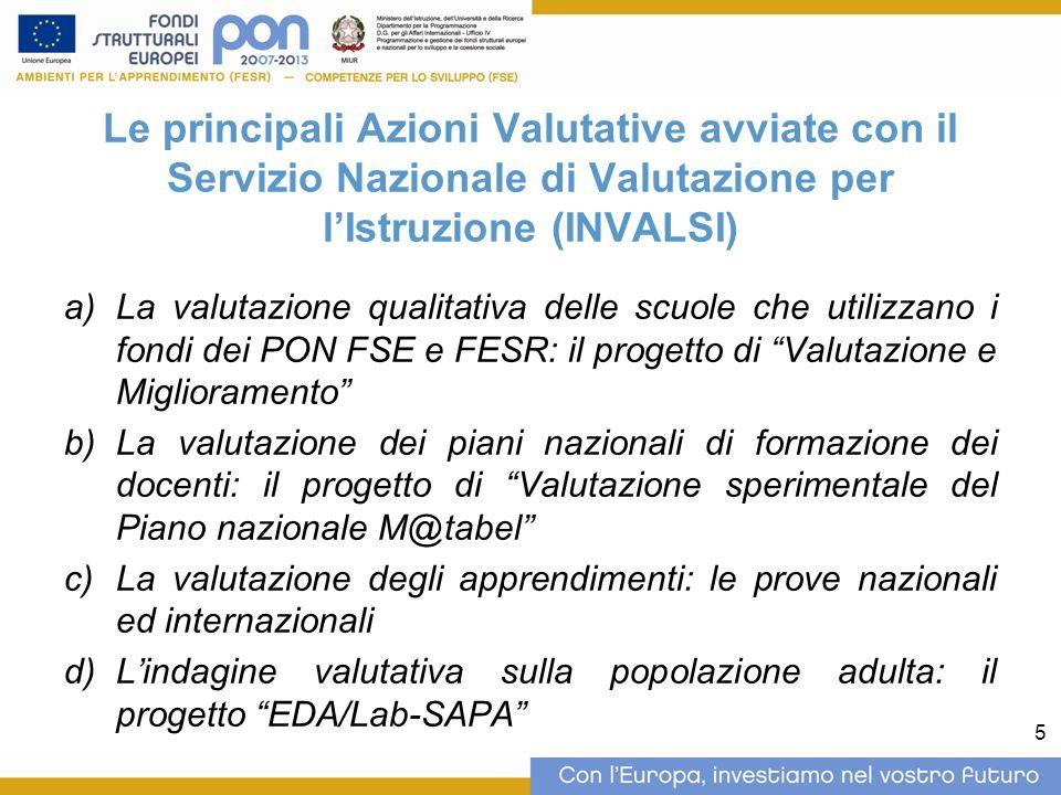 5 Le principali Azioni Valutative avviate con il Servizio Nazionale di Valutazione per lIstruzione (INVALSI) La valutazione qualitativa delle scuole c