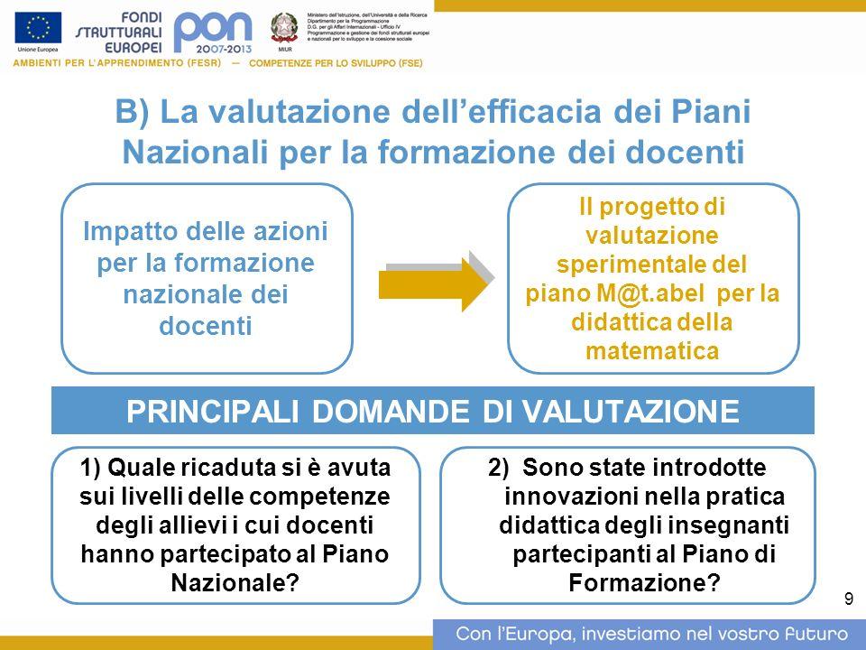 9 B) La valutazione dellefficacia dei Piani Nazionali per la formazione dei docenti PRINCIPALI DOMANDE DI VALUTAZIONE Impatto delle azioni per la form