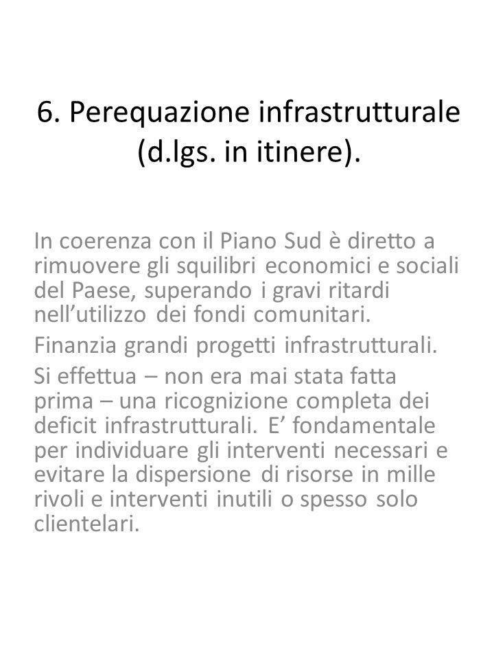 6. Perequazione infrastrutturale (d.lgs. in itinere).
