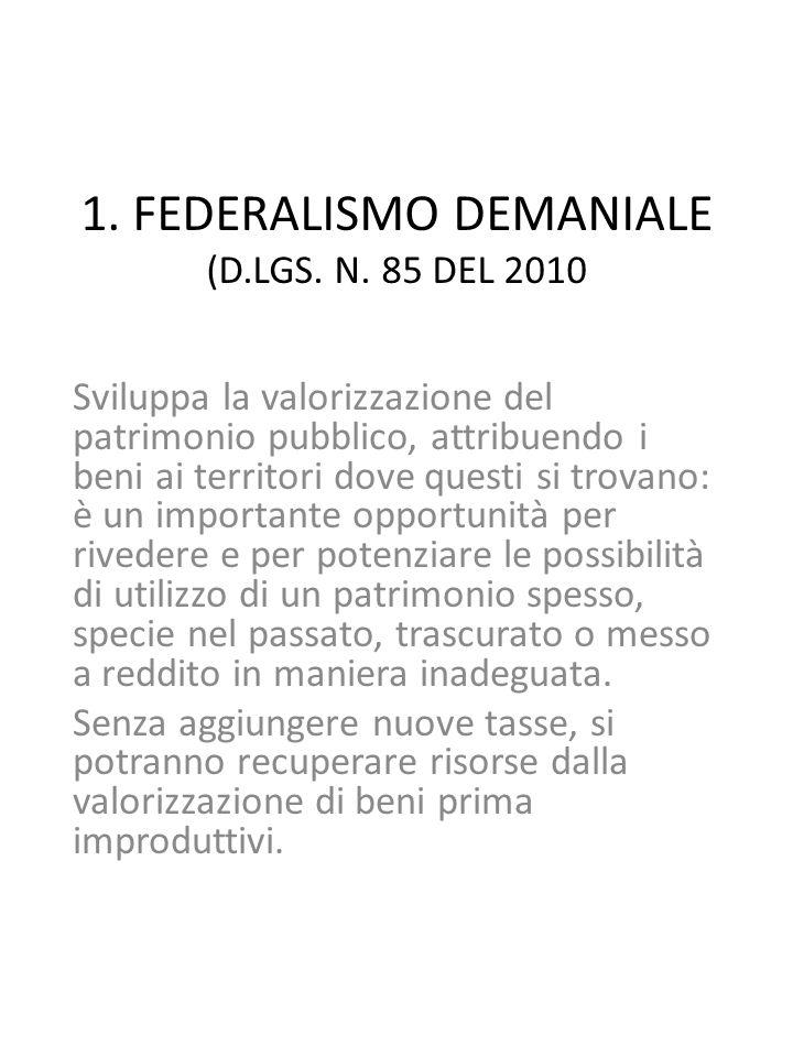 1. FEDERALISMO DEMANIALE (D.LGS. N.