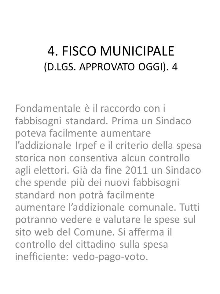 4. FISCO MUNICIPALE (D.LGS. APPROVATO OGGI).