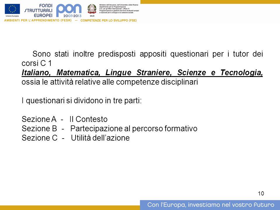 10 Sono stati inoltre predisposti appositi questionari per i tutor dei corsi C 1 Italiano, Matematica, Lingue Straniere, Scienze e Tecnologia, ossia l