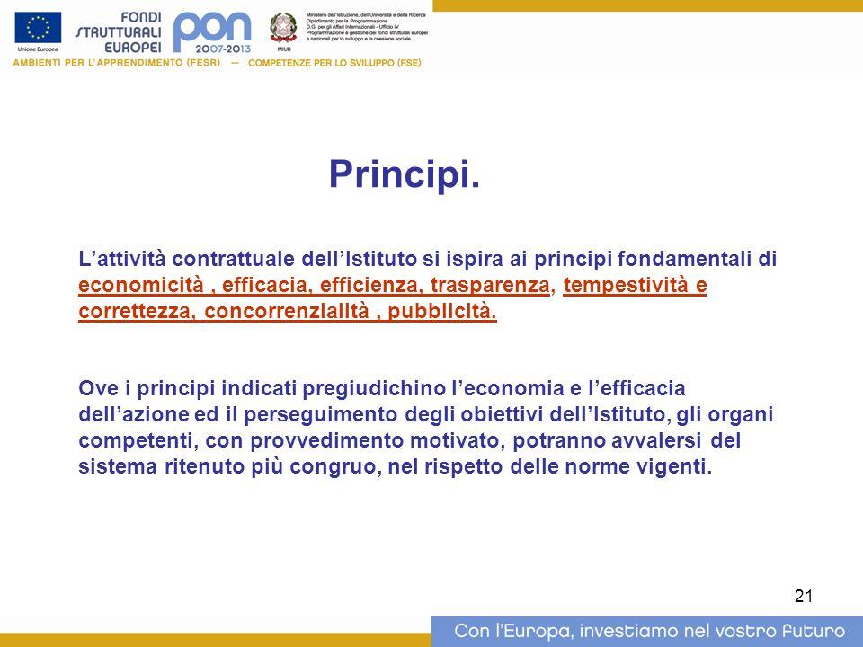 21 Lattività contrattuale dellIstituto si ispira ai principi fondamentali di economicità, efficacia, efficienza, trasparenza, tempestività e correttezza, concorrenzialità, pubblicità.