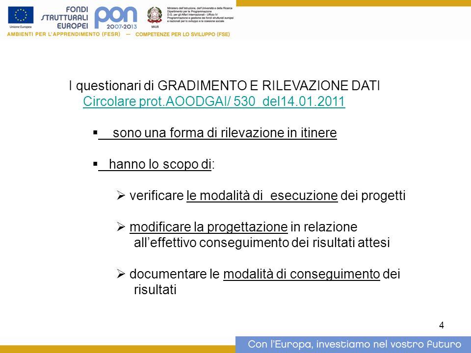 4 I questionari di GRADIMENTO E RILEVAZIONE DATI Circolare prot.AOODGAI/ 530 del14.01.2011 sono una forma di rilevazione in itinere hanno lo scopo di: